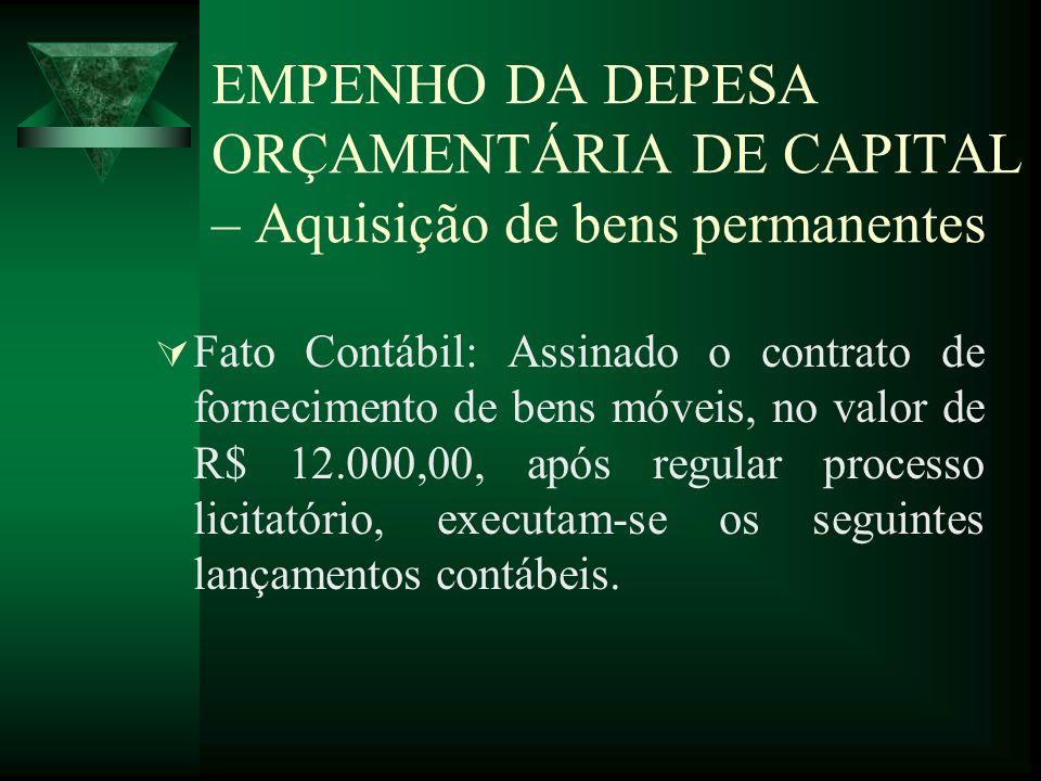 EMPENHO DA DEPESA ORÇAMENTÁRIA DE CAPITAL – Aquisição de bens permanentes