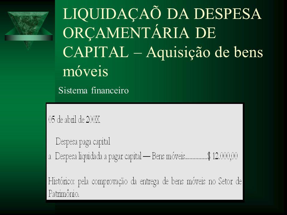 LIQUIDAÇAÕ DA DESPESA ORÇAMENTÁRIA DE CAPITAL – Aquisição de bens móveis