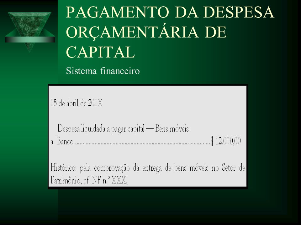 PAGAMENTO DA DESPESA ORÇAMENTÁRIA DE CAPITAL