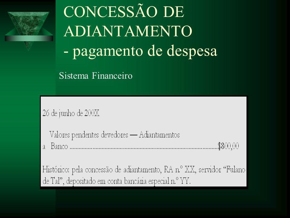 CONCESSÃO DE ADIANTAMENTO - pagamento de despesa