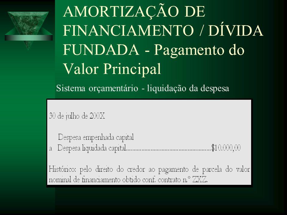 AMORTIZAÇÃO DE FINANCIAMENTO / DÍVIDA FUNDADA - Pagamento do Valor Principal