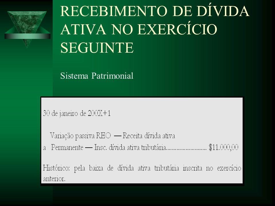 RECEBIMENTO DE DÍVIDA ATIVA NO EXERCÍCIO SEGUINTE
