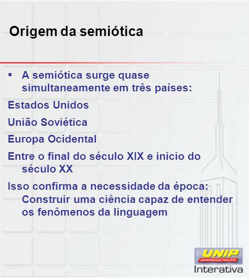 Origem da semiótica A semiótica surge quase simultaneamente em três países: Estados Unidos. União Soviética.