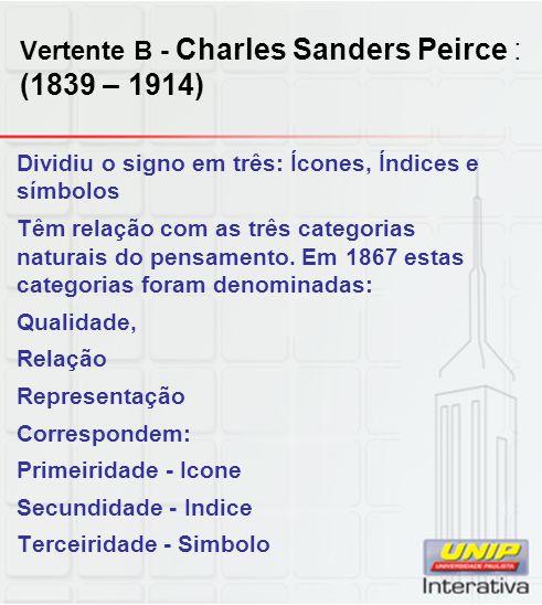 Vertente B - Charles Sanders Peirce : (1839 – 1914)