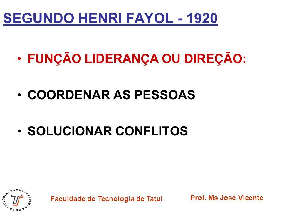 SEGUNDO HENRI FAYOL - 1920 FUNÇÃO LIDERANÇA OU DIREÇÃO: