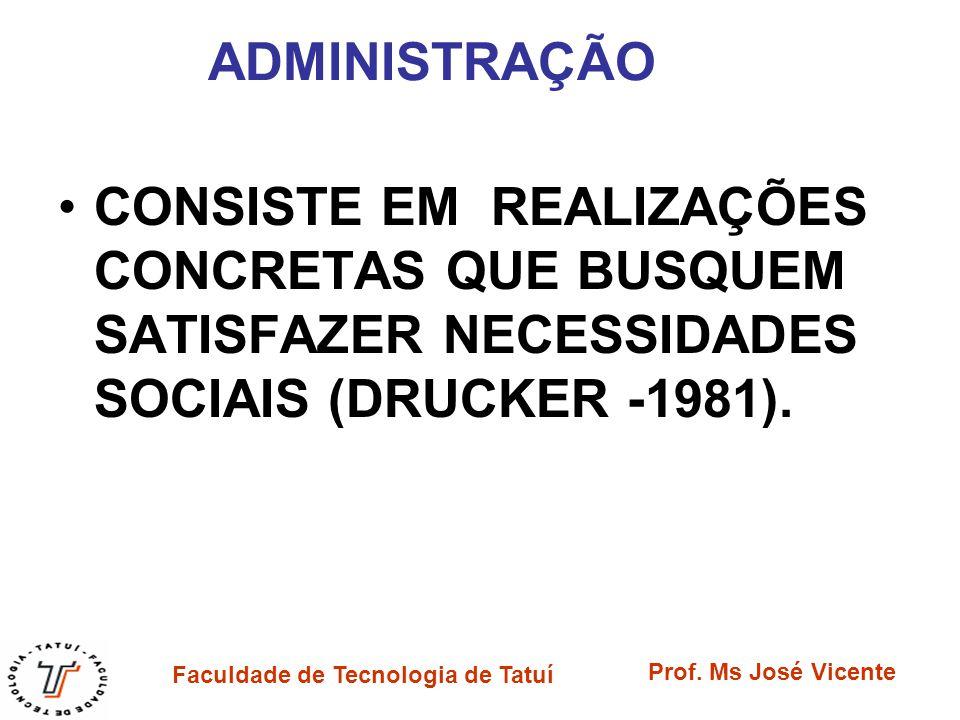 ADMINISTRAÇÃO CONSISTE EM REALIZAÇÕES CONCRETAS QUE BUSQUEM SATISFAZER NECESSIDADES SOCIAIS (DRUCKER -1981).