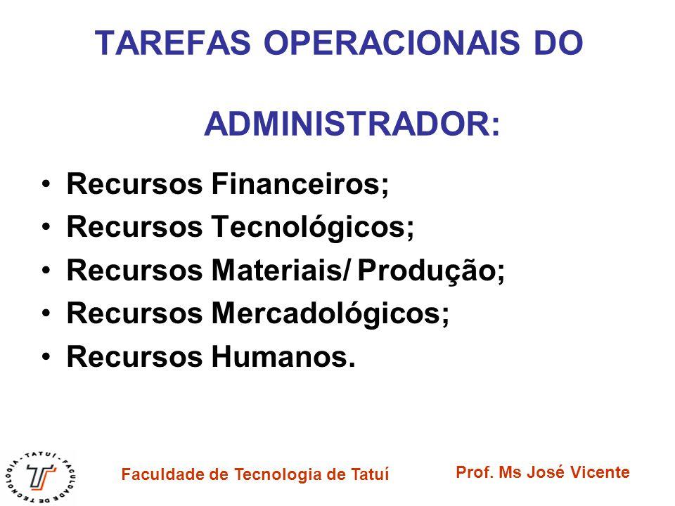 TAREFAS OPERACIONAIS DO ADMINISTRADOR:
