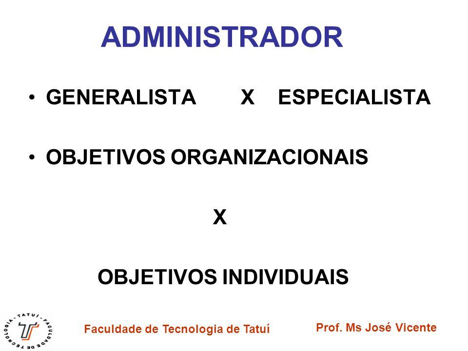 ADMINISTRADOR GENERALISTA X ESPECIALISTA OBJETIVOS ORGANIZACIONAIS X