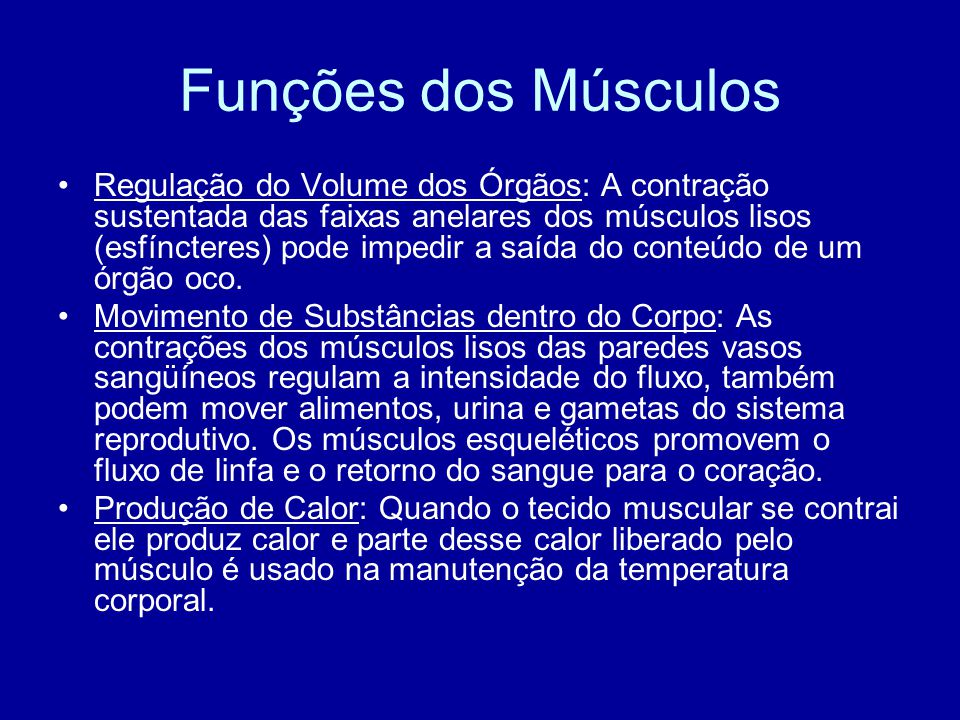 Funções dos Músculos