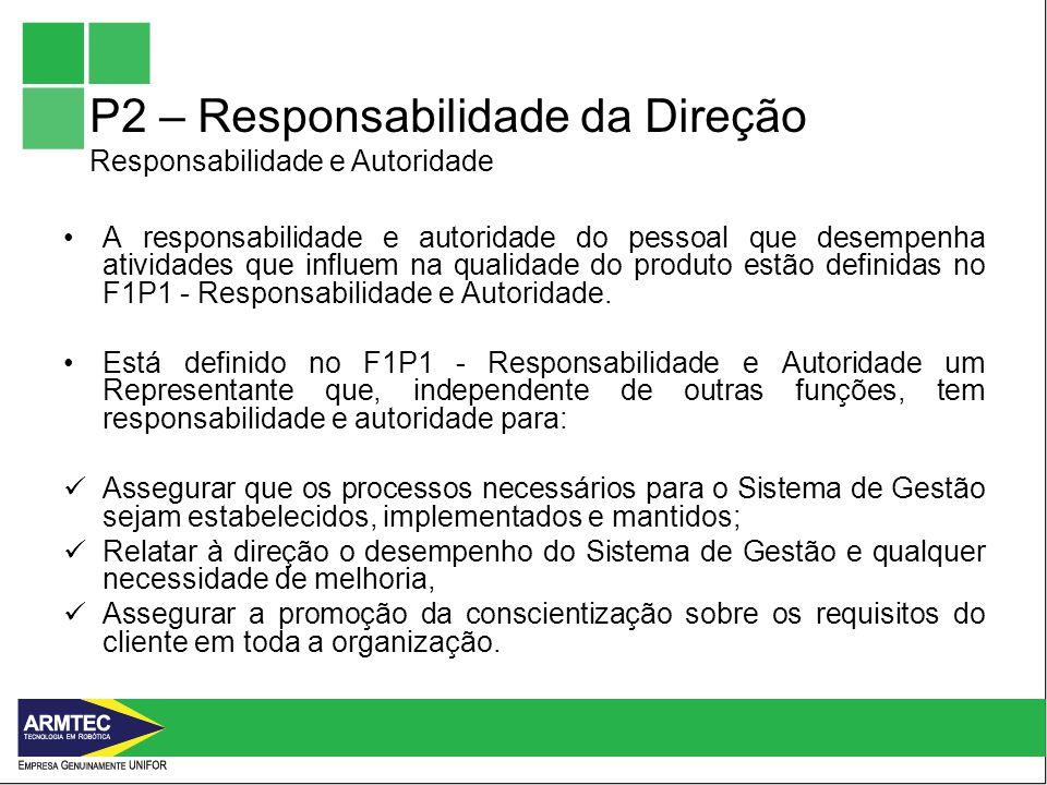 P2 – Responsabilidade da Direção Responsabilidade e Autoridade