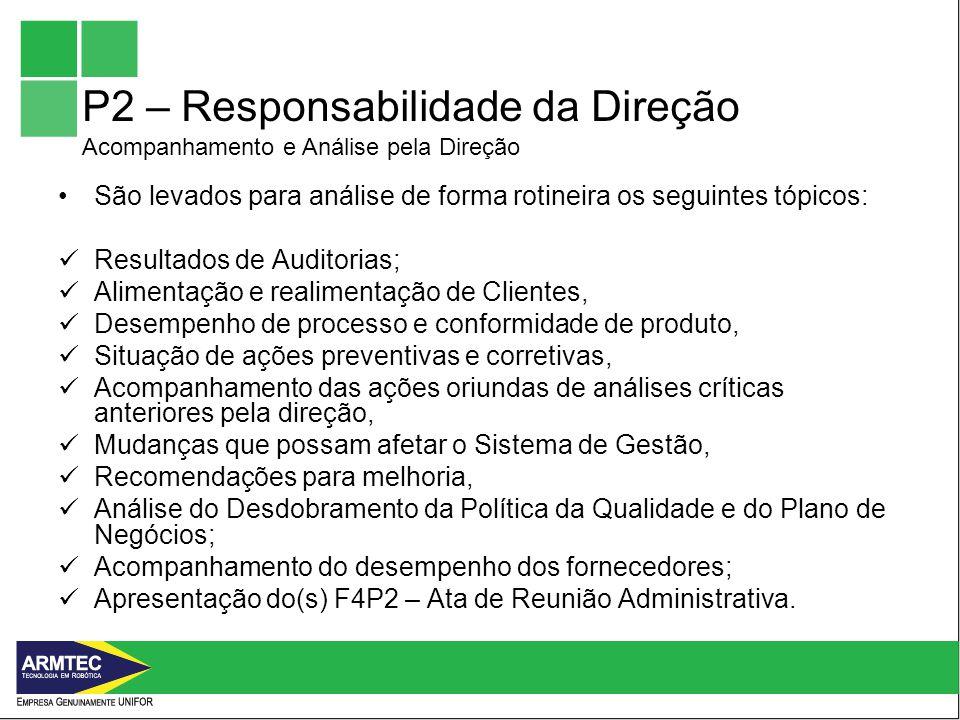 P2 – Responsabilidade da Direção Acompanhamento e Análise pela Direção