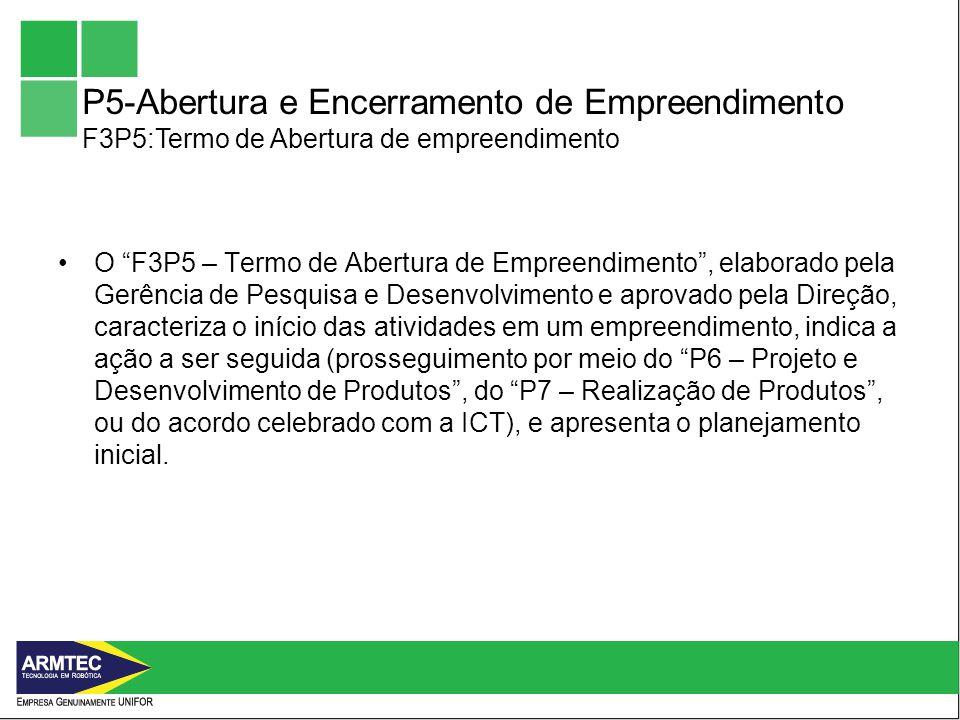 P5-Abertura e Encerramento de Empreendimento F3P5:Termo de Abertura de empreendimento