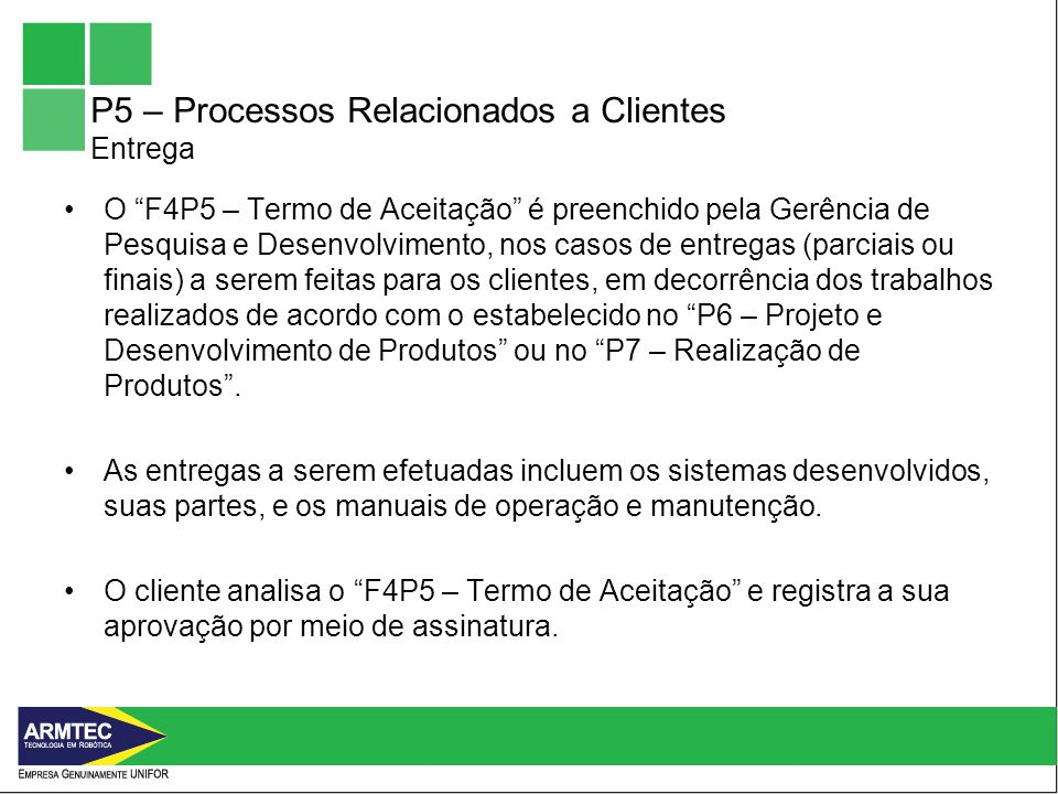 P5 – Processos Relacionados a Clientes