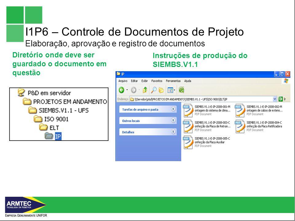 I1P6 – Controle de Documentos de Projeto Elaboração, aprovação e registro de documentos
