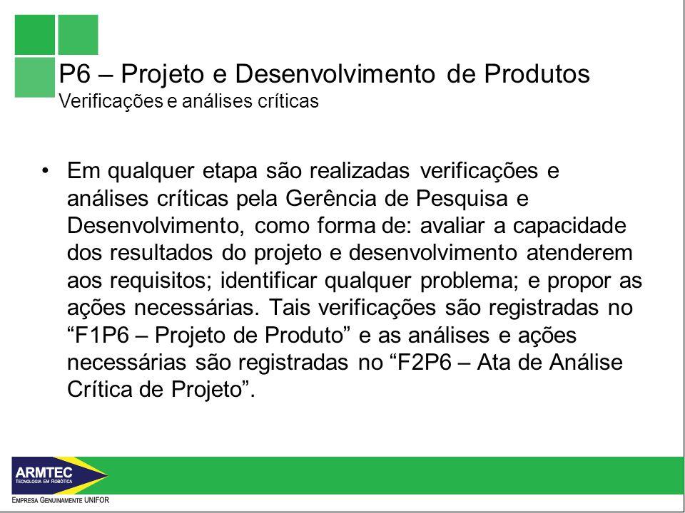 P6 – Projeto e Desenvolvimento de Produtos Verificações e análises críticas