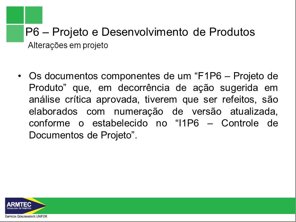 P6 – Projeto e Desenvolvimento de Produtos Alterações em projeto
