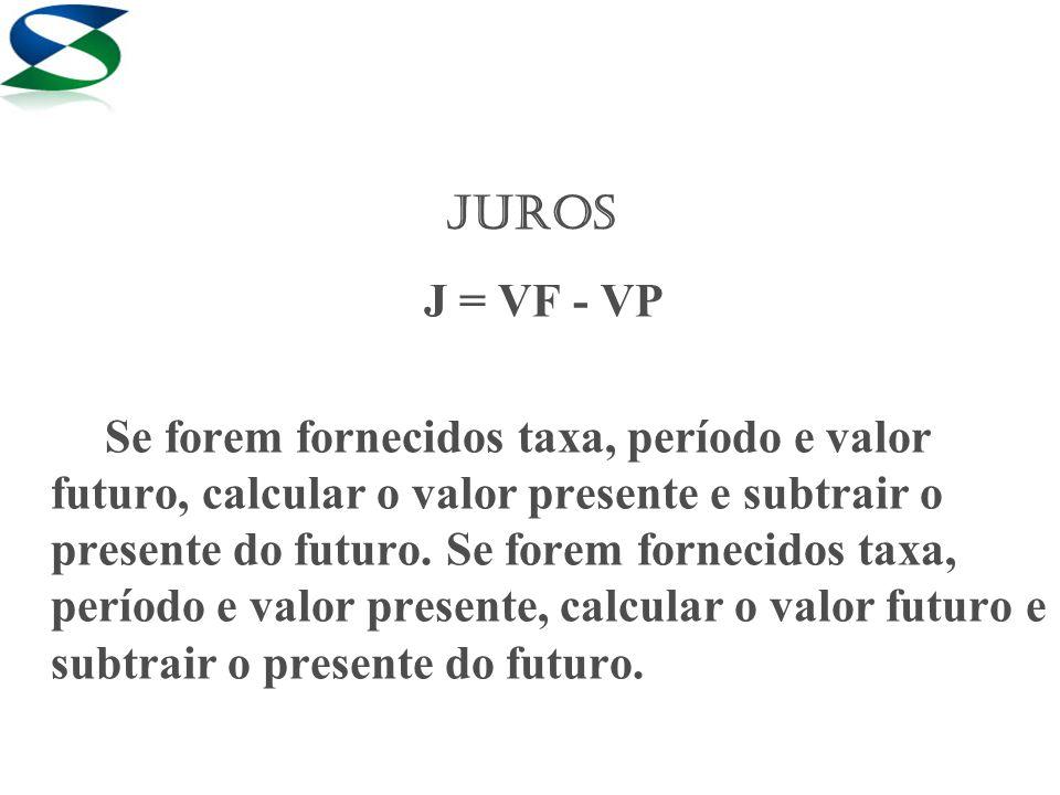JUROS J = VF - VP.