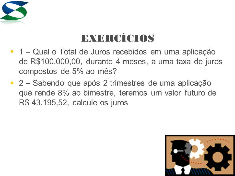 EXERCÍCIOS 1 – Qual o Total de Juros recebidos em uma aplicação de R$100.000,00, durante 4 meses, a uma taxa de juros compostos de 5% ao mês