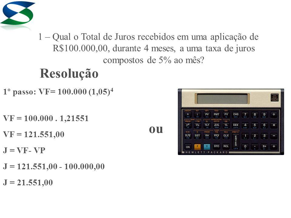 1 – Qual o Total de Juros recebidos em uma aplicação de R$100