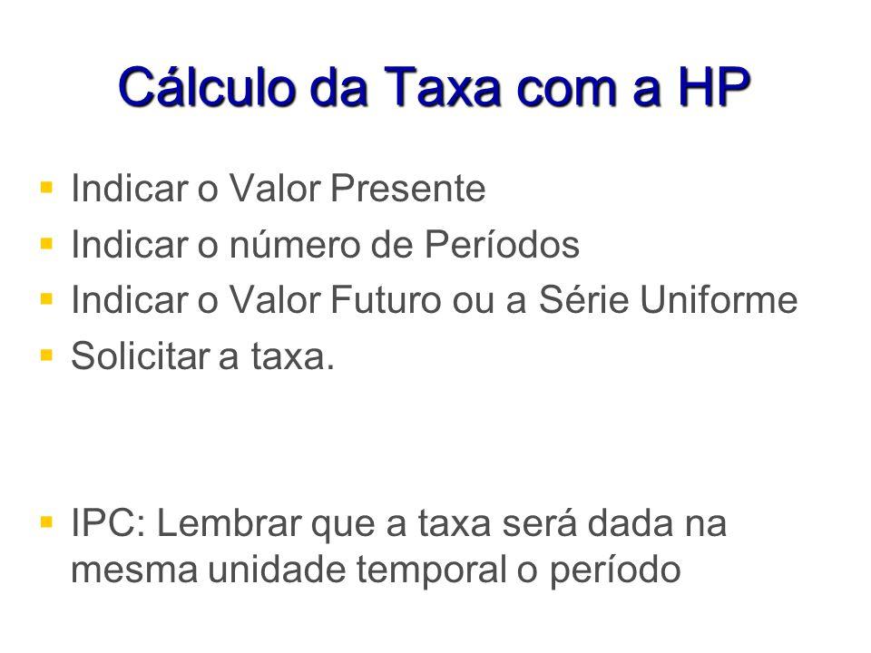Cálculo da Taxa com a HP Indicar o Valor Presente