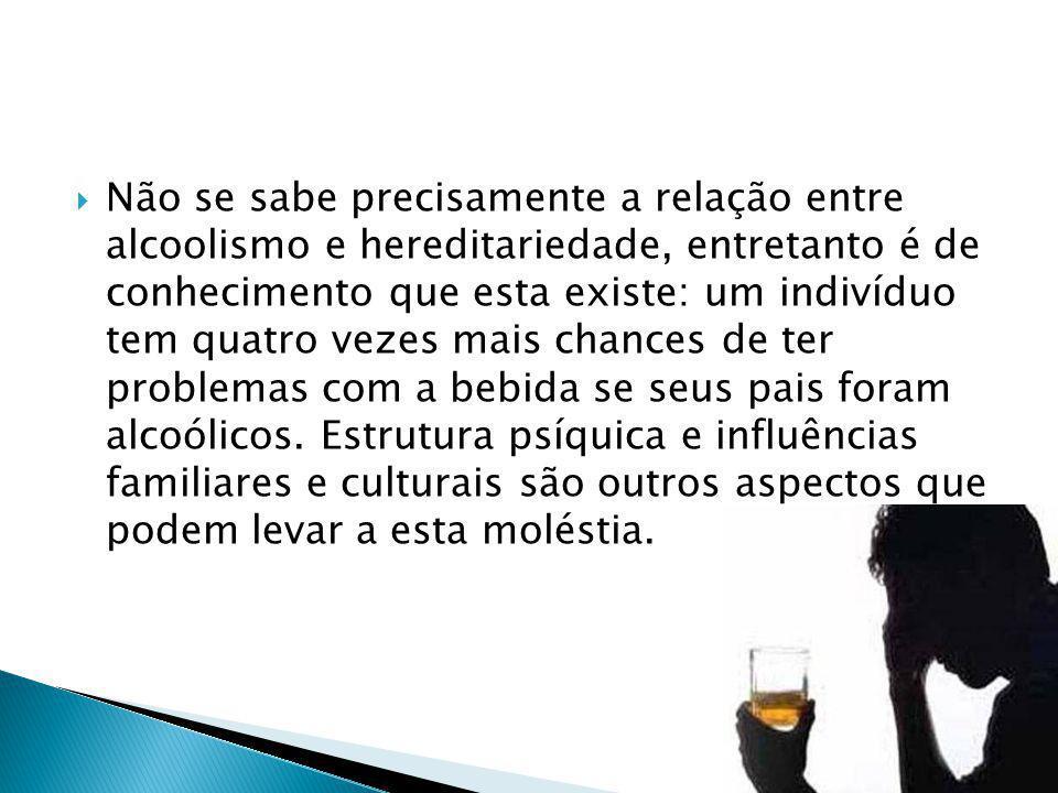 Não se sabe precisamente a relação entre alcoolismo e hereditariedade, entretanto é de conhecimento que esta existe: um indivíduo tem quatro vezes mais chances de ter problemas com a bebida se seus pais foram alcoólicos.