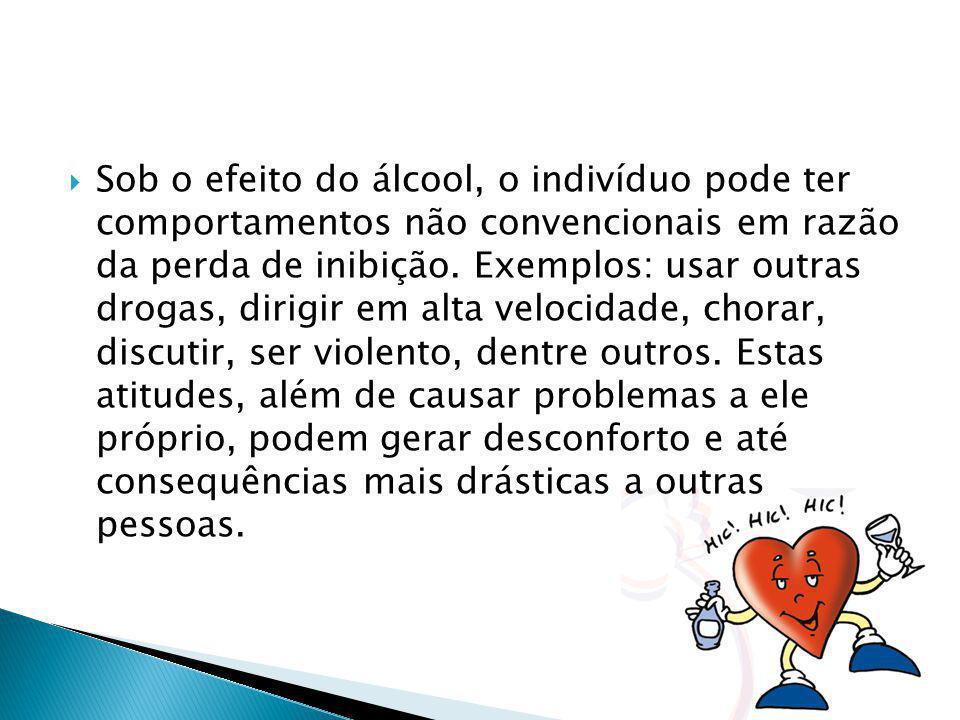 Sob o efeito do álcool, o indivíduo pode ter comportamentos não convencionais em razão da perda de inibição.