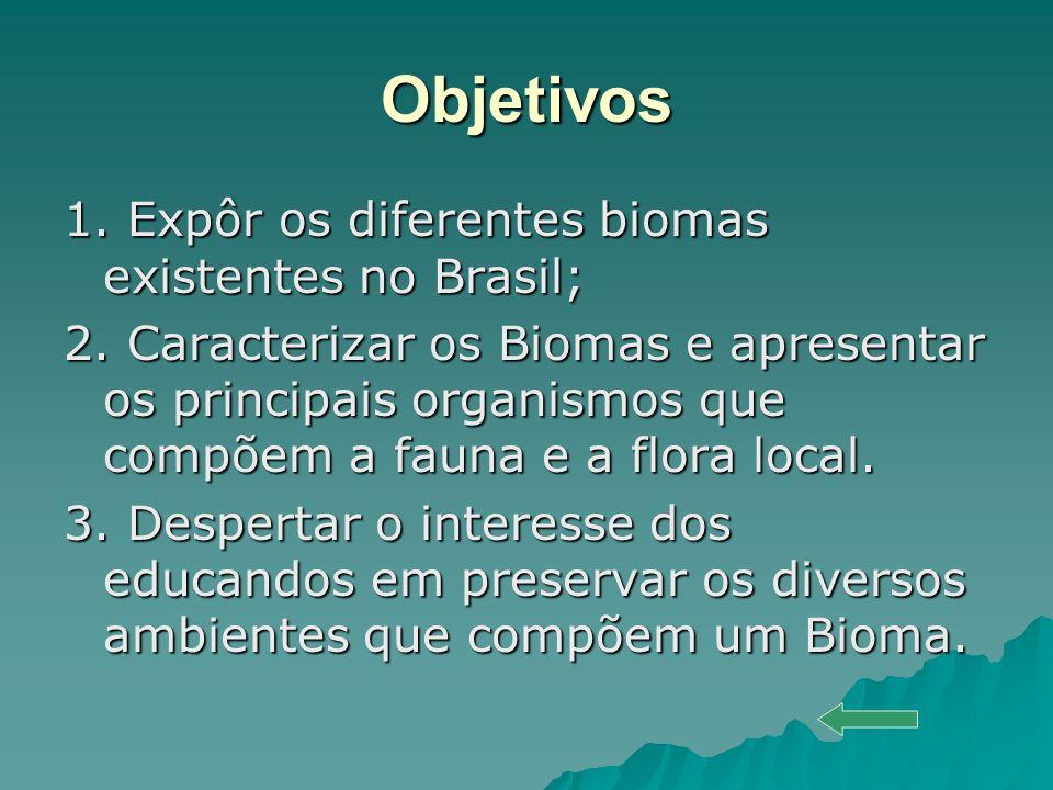 Objetivos 1. Expôr os diferentes biomas existentes no Brasil;
