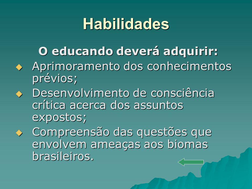 Habilidades O educando deverá adquirir: