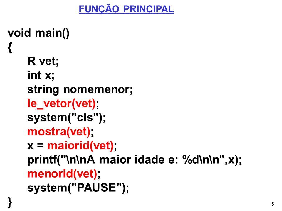 printf( \n\nA maior idade e: %d\n\n ,x); menorid(vet);