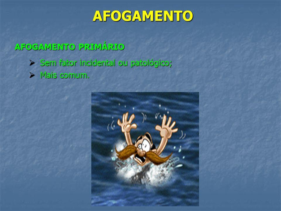 AFOGAMENTO AFOGAMENTO PRIMÁRIO Sem fator incidental ou patológico;