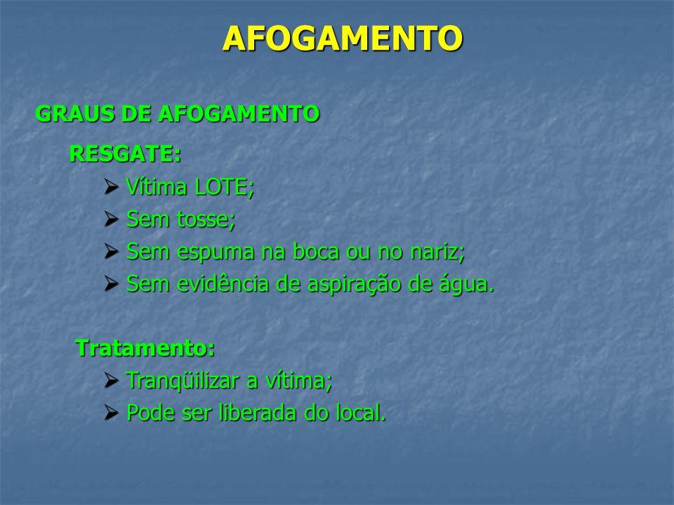 AFOGAMENTO GRAUS DE AFOGAMENTO RESGATE: Vítima LOTE; Sem tosse;