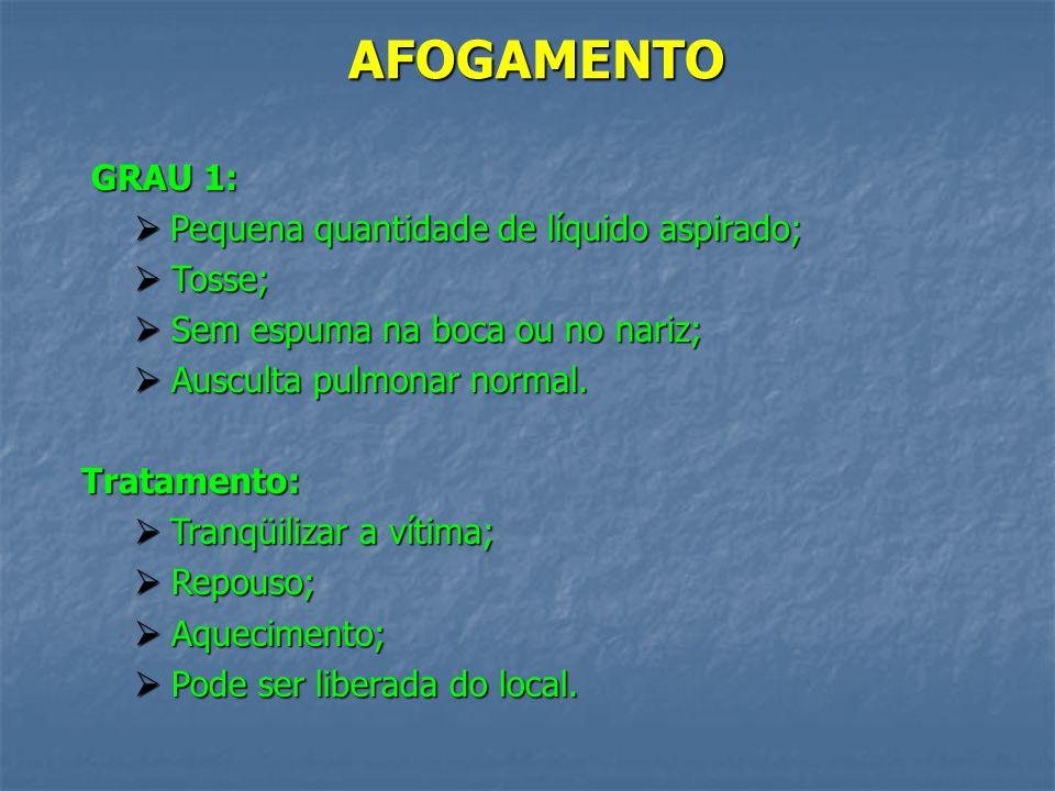 AFOGAMENTO GRAU 1: Pequena quantidade de líquido aspirado; Tosse;