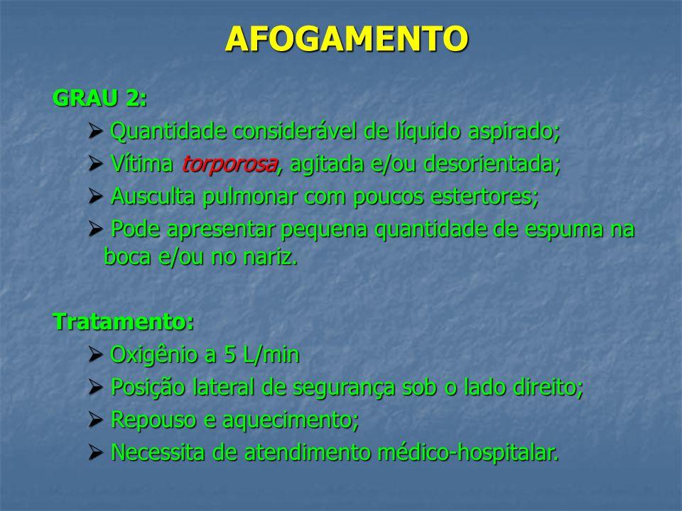 AFOGAMENTO GRAU 2: Quantidade considerável de líquido aspirado;