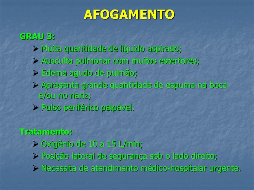AFOGAMENTO GRAU 3: Muita quantidade de líquido aspirado;