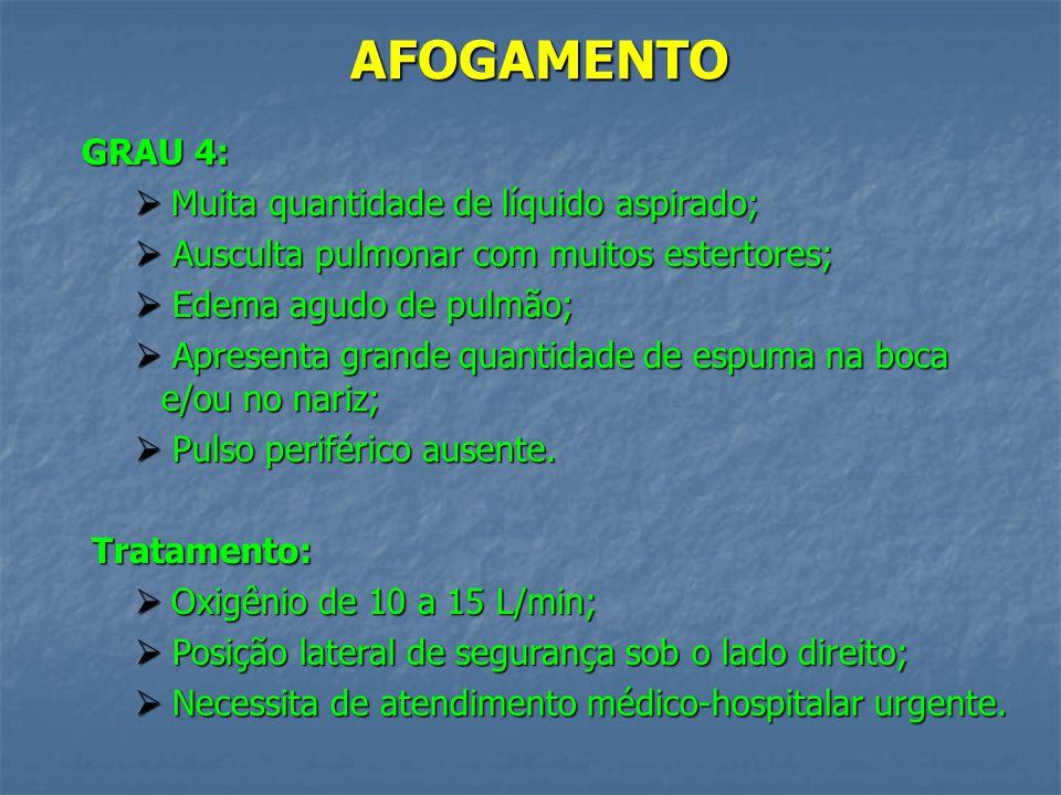 AFOGAMENTO GRAU 4: Muita quantidade de líquido aspirado;