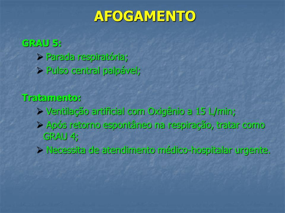 AFOGAMENTO GRAU 5: Parada respiratória; Pulso central palpável;