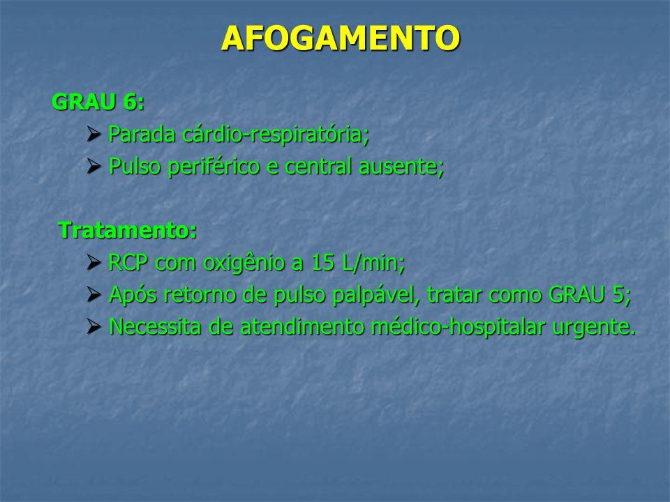 AFOGAMENTO GRAU 6: Parada cárdio-respiratória;