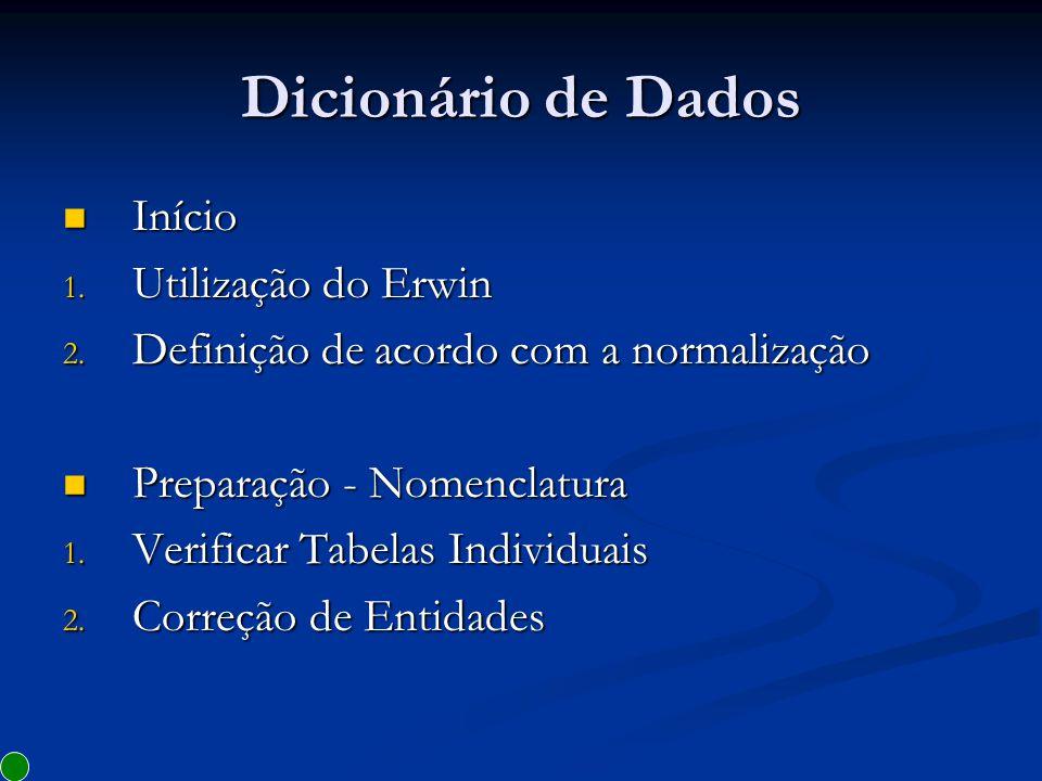 Dicionário de Dados Início Utilização do Erwin