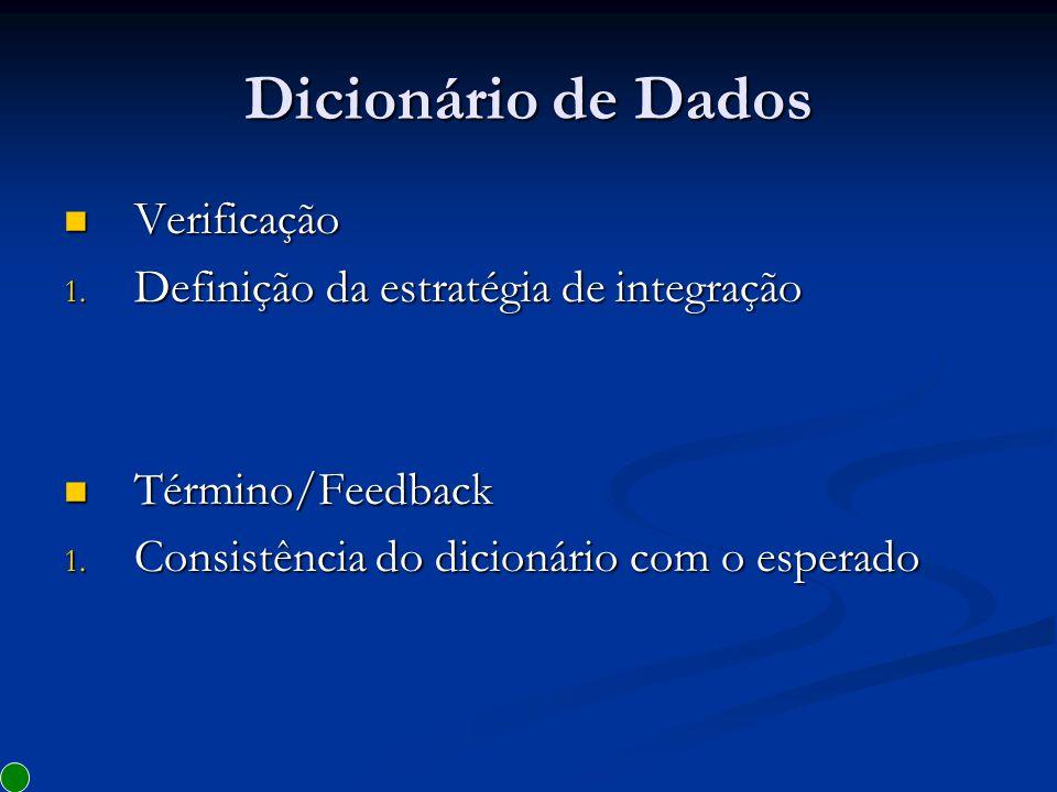 Dicionário de Dados Verificação Definição da estratégia de integração
