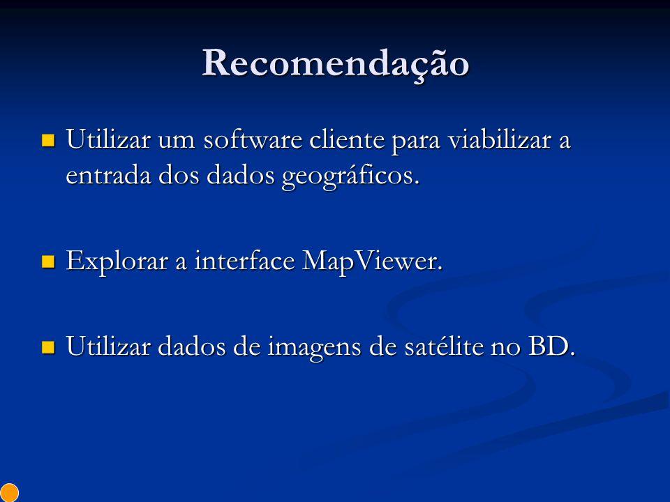 Recomendação Utilizar um software cliente para viabilizar a entrada dos dados geográficos. Explorar a interface MapViewer.