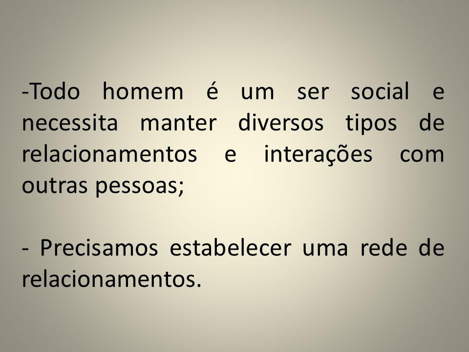 Todo homem é um ser social e necessita manter diversos tipos de relacionamentos e interações com outras pessoas;