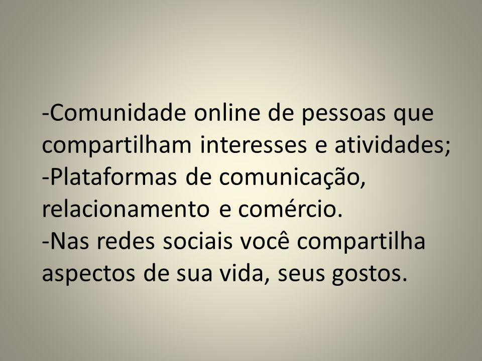 Comunidade online de pessoas que compartilham interesses e atividades;