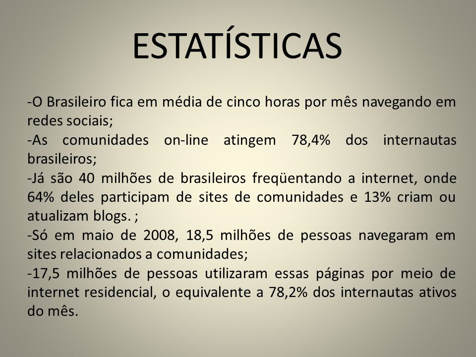ESTATÍSTICAS O Brasileiro fica em média de cinco horas por mês navegando em redes sociais;