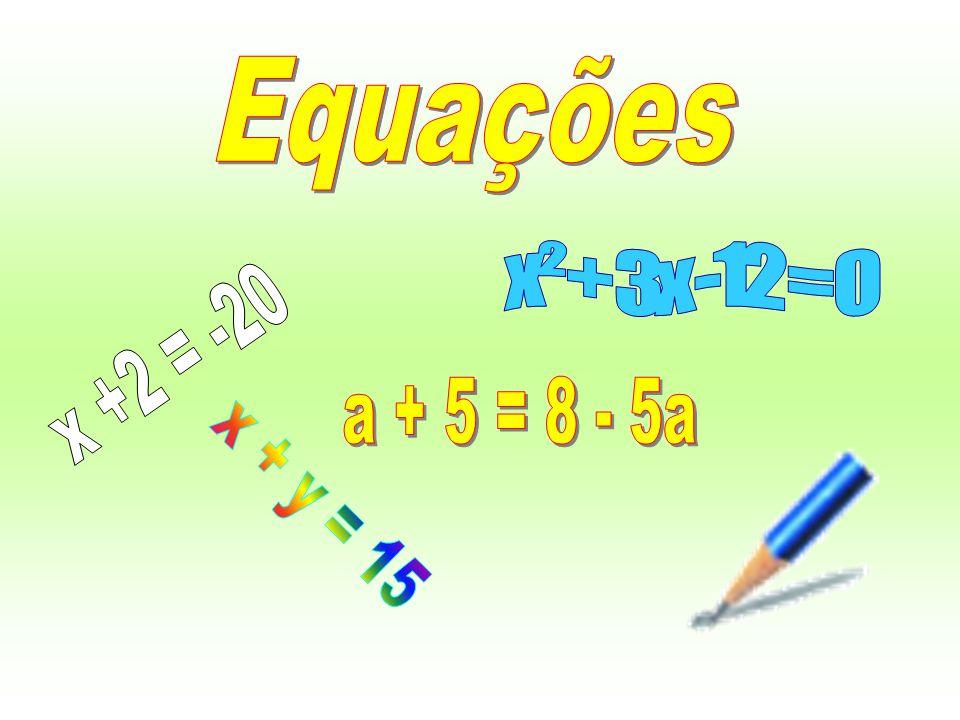 Equações x² + 3x -12 = 0 x +2 = -20 a + 5 = 8 - 5a x + y = 15
