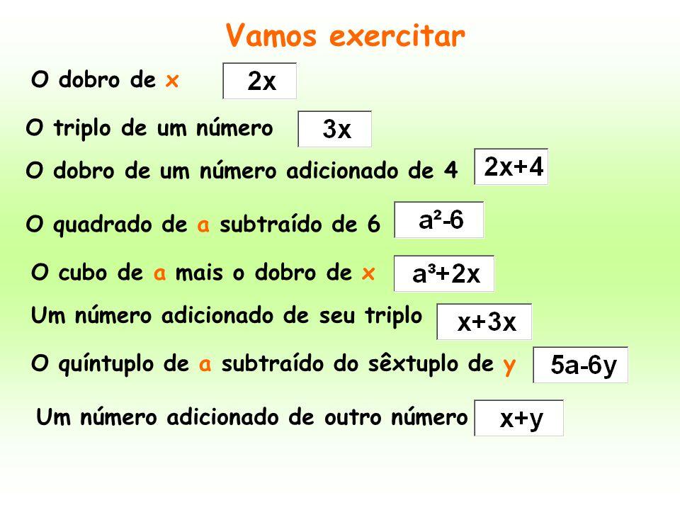Vamos exercitar O dobro de x O triplo de um número