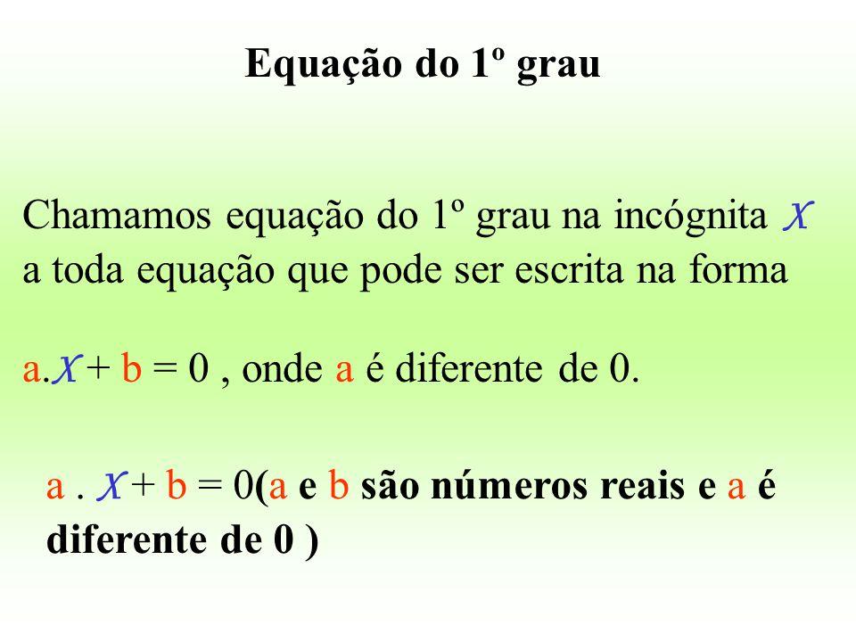 Equação do 1º grau Chamamos equação do 1º grau na incógnita X a toda equação que pode ser escrita na forma.