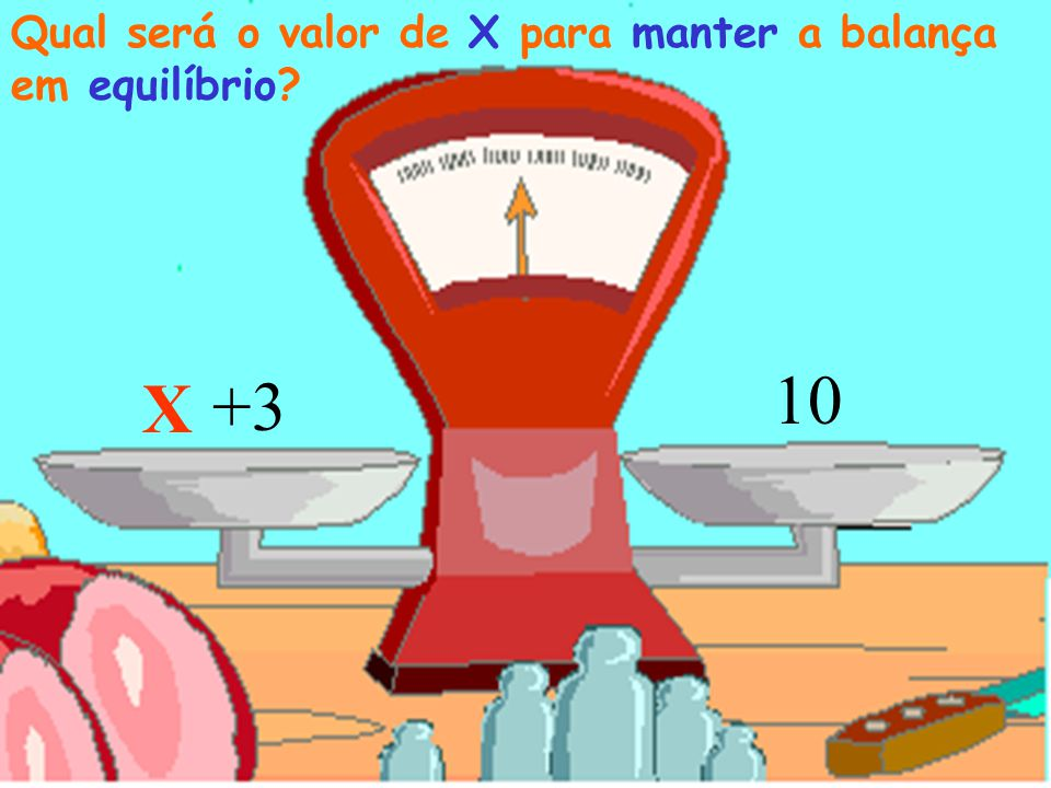 Qual será o valor de X para manter a balança em equilíbrio
