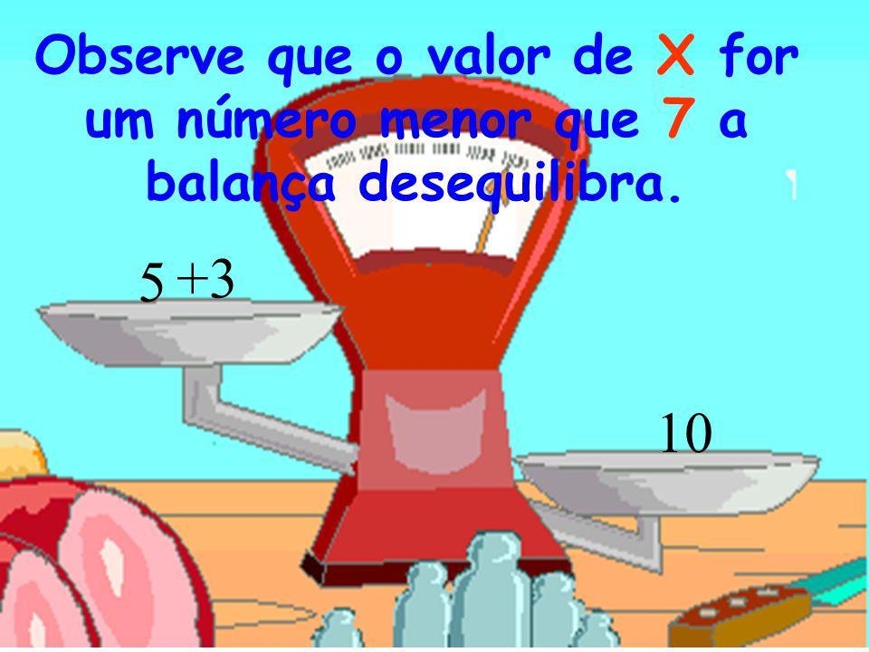 Observe que o valor de X for um número menor que 7 a balança desequilibra.