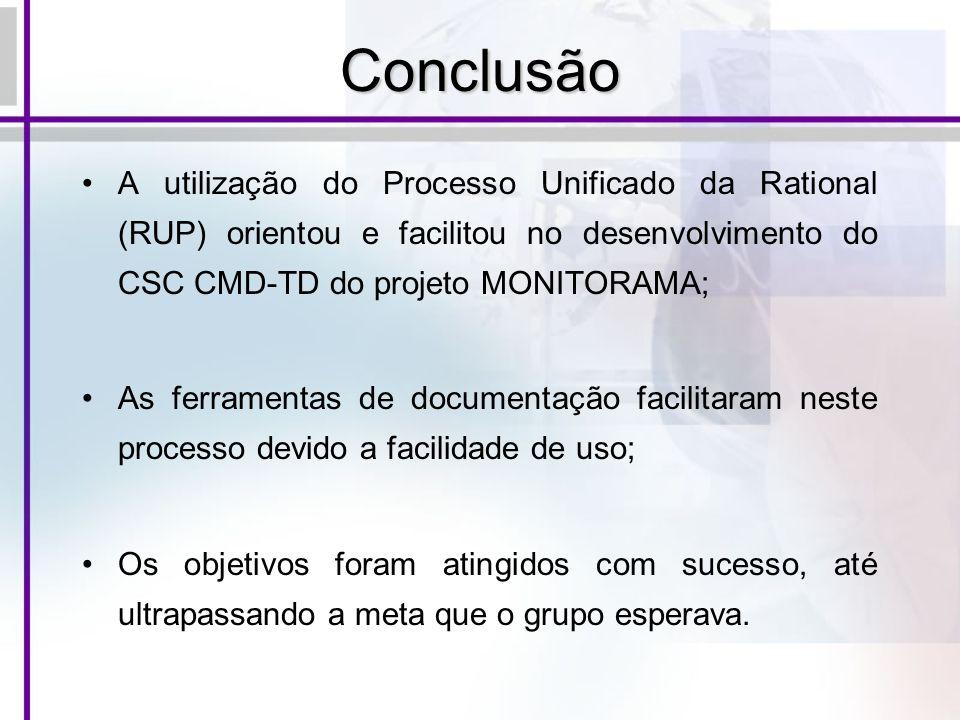 Conclusão A utilização do Processo Unificado da Rational (RUP) orientou e facilitou no desenvolvimento do CSC CMD-TD do projeto MONITORAMA;