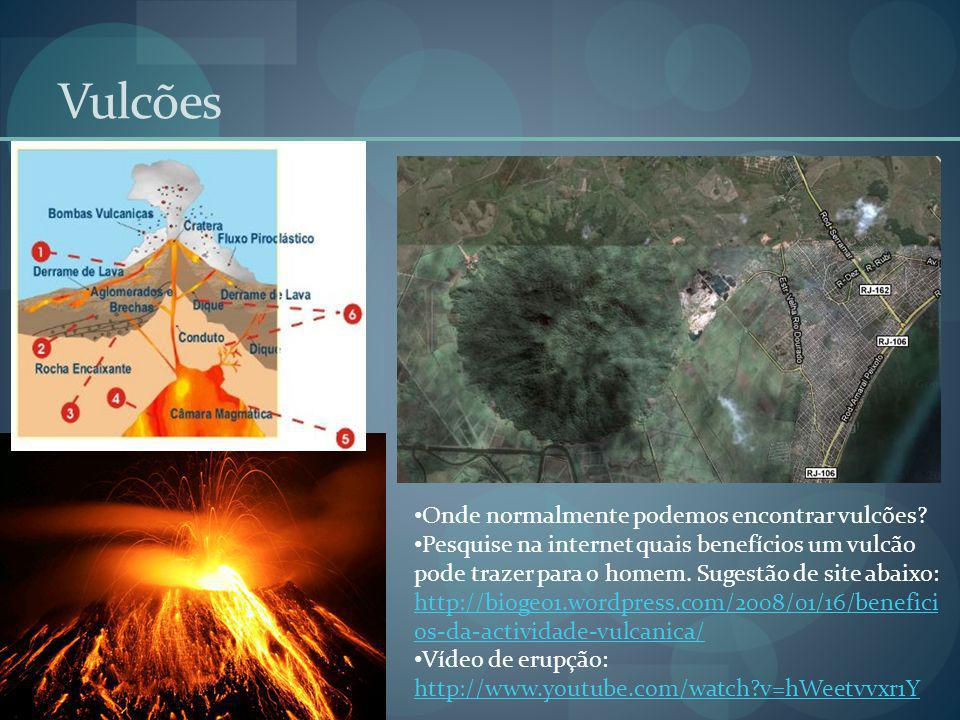 Vulcões Onde normalmente podemos encontrar vulcões